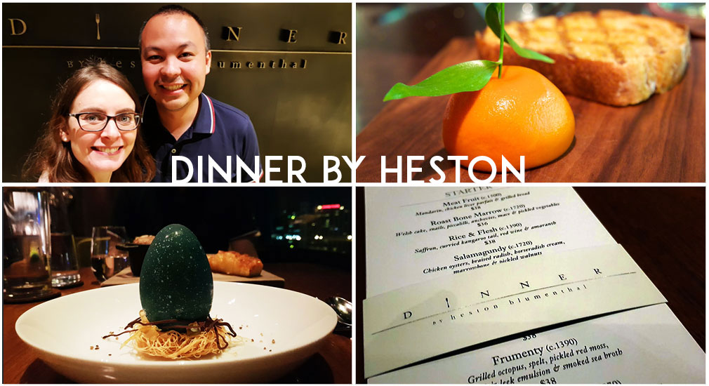 We dined at Heston Blumenthal's Dinner By Heston in Melbourne. Highlights included the 'meat fruit' entree which has the appearance of an orange but is a chicken parfait inside.