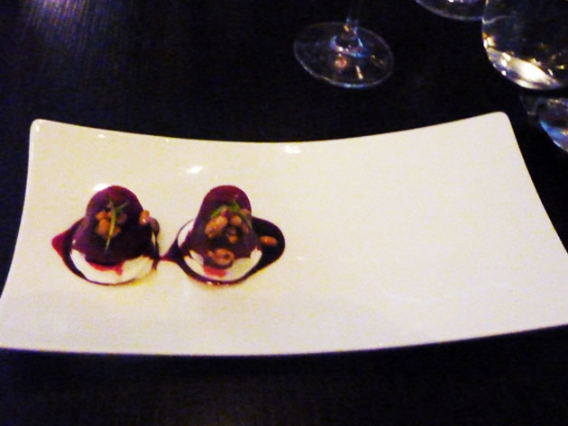 Marinated beetroot with goats curd, Cabernet Sauvignon vinaigrette, toasted pine nuts