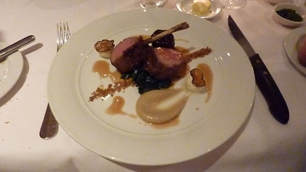 Roasted lamb rack with cumin spiced neck confit, labna and eggplant