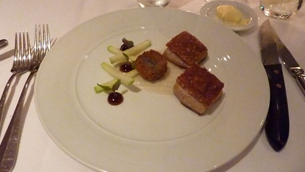twice cooked Bangalow Sweet Pork belly with apple purée and black pudding