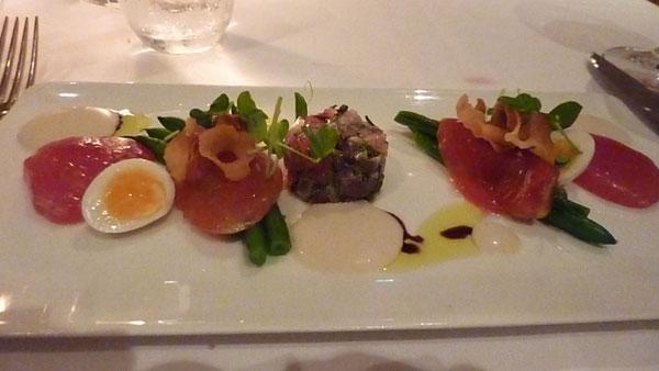 Tuna sashimi with quail egg