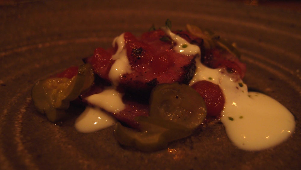 Pickled beef, ketchup, pickles and yoghurt