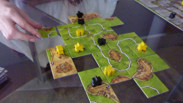 Board games - We've recently got back into playing board games in a big way.  Lately we've been branching out some from the same two or three games we've been playing for years and trying something different.  This is Carcassone, an excellent two player game.