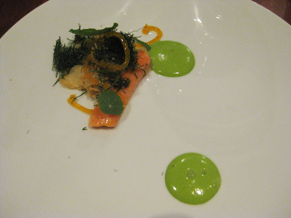 Ocean trout, nasturtium, smoked roe, fennel, kettle chips, onion and yoke