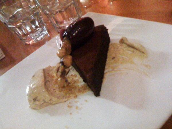 Flourless chocolate cake, praline mascarpone & hazelnut toffee