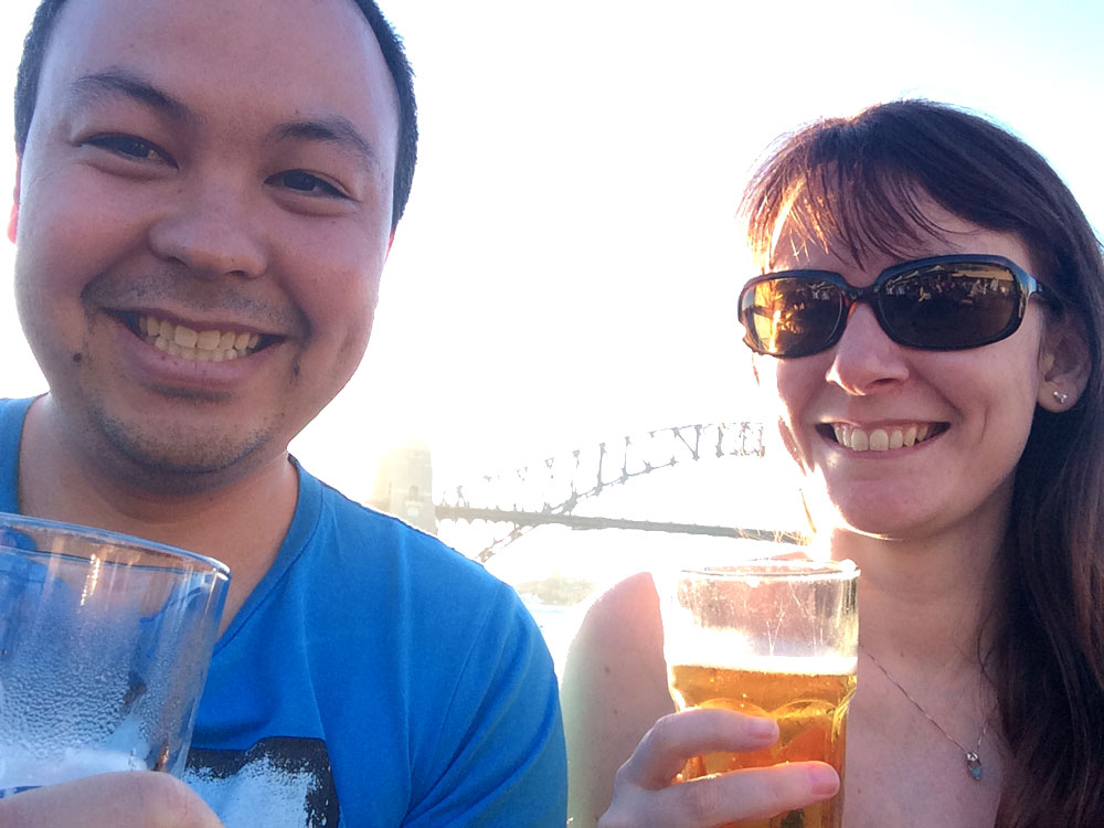 Getting touristy and having a beer at the Opera Bar in front of the Sydney Harbour Bridge.