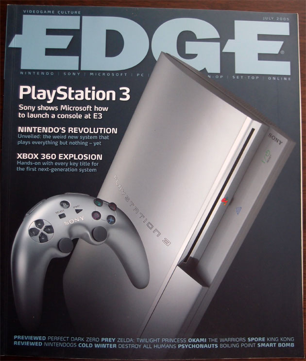 Edge #151 [July 2005] - It's interesting to back to hardware mock ups before a system got released and see how they changed.  The Playstation 3 would lose the boomerang controller and the silver finish before its eventual launch