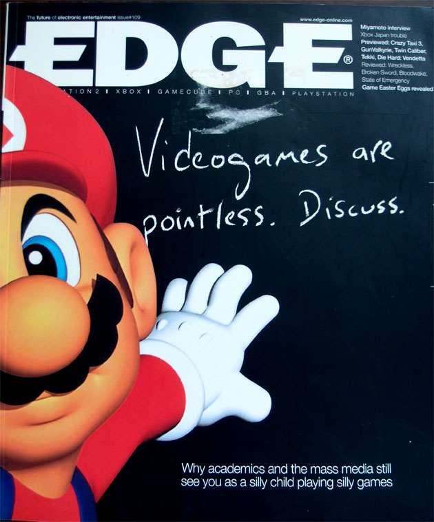 Edge #109 [April 2002] - the famous 'video games are pointless' cover where the feature article was on video game academia