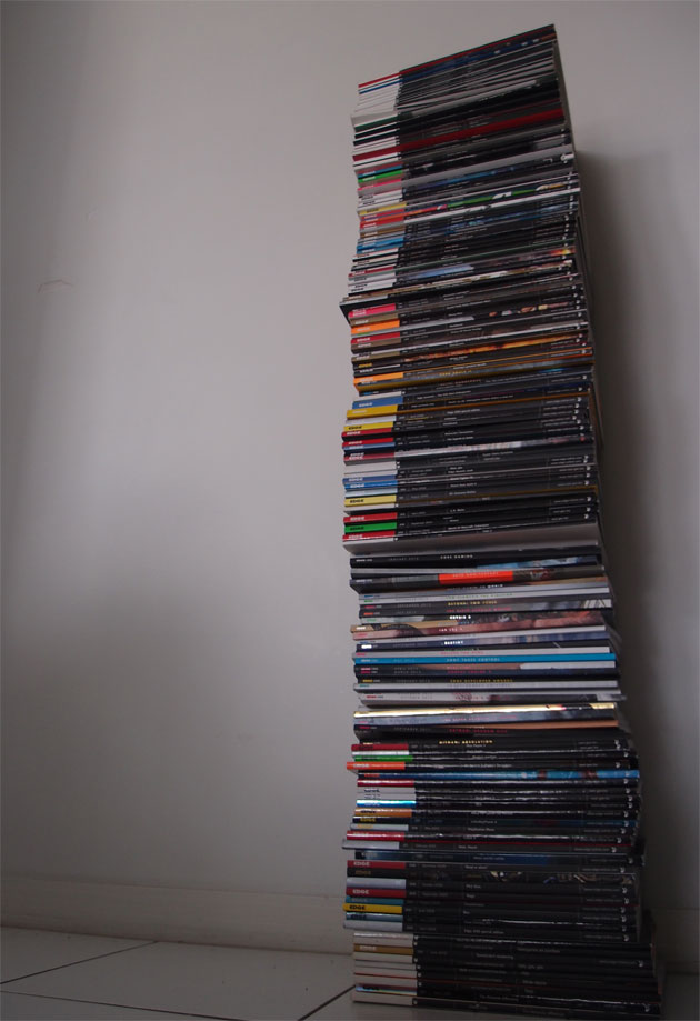 Every issue of Edge Magazine that I own.  170 issues (out of 255).