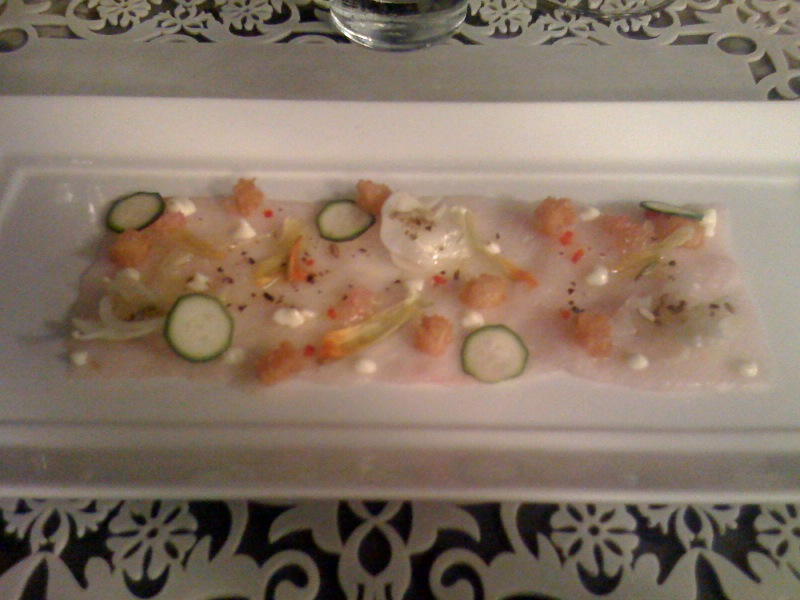 Carpaccio, Kingfish, zucchini flower, finger lime, chilli, fennel