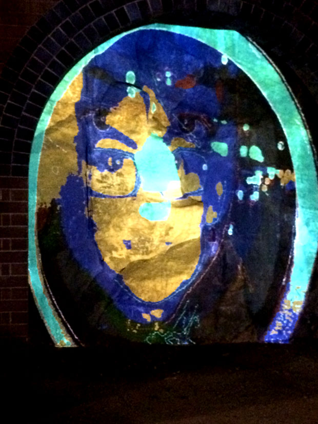 An interactive grafitti art exhibit projected and overlaid an image of Jen and I