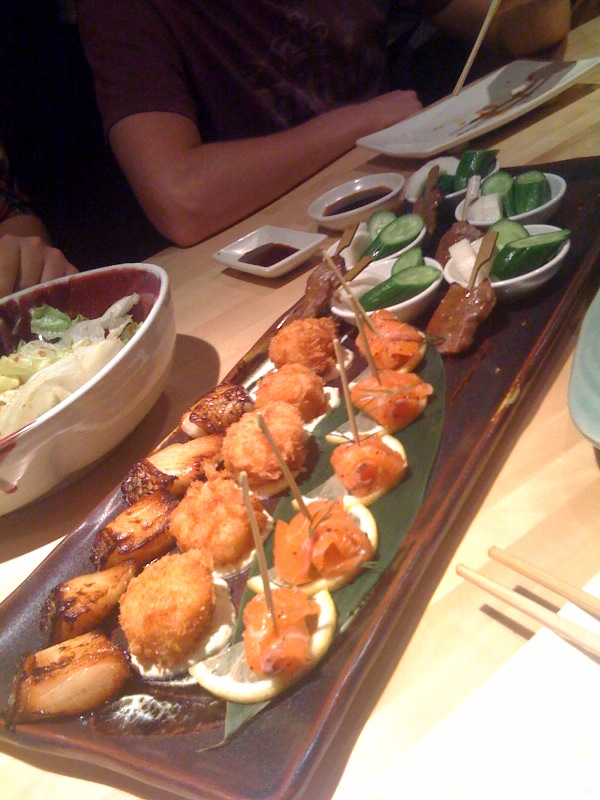 Scallops, grilled snapper and salmon skewers