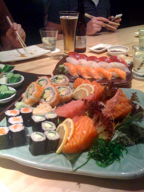 Giant sashimi and sushi platter of doom