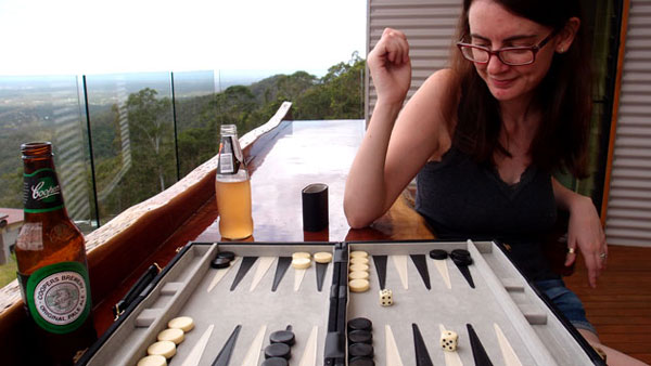 Jen and I have been playing backgammon for ten years.  This was probably the nicest backdrop we've played against.  I let her win.