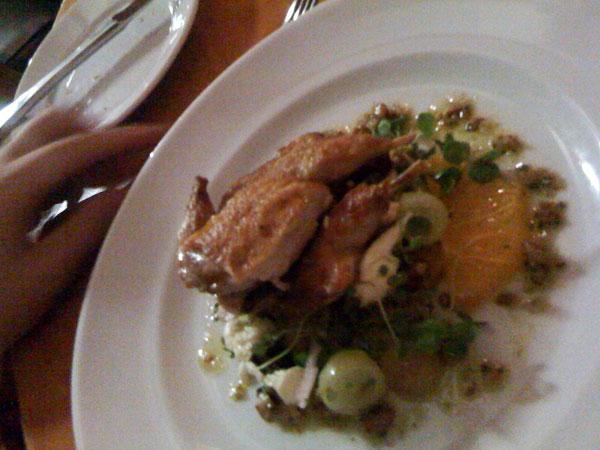 grilled quail, salad of orange, witlof, bocconcini & pecan dressing.