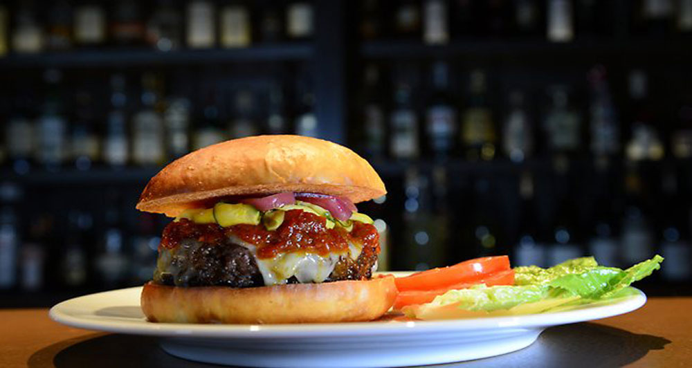The wagyu burger at Rockpool Bar and Grill