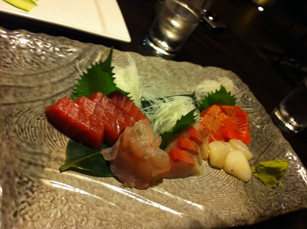 A selection of fresh sashimi, served with wasabi & soy.  The scampi was a highlight.  All impeccably fresh and tasty.