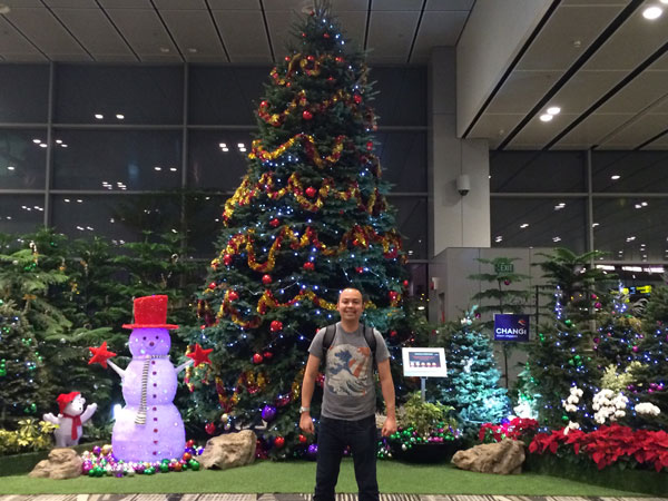 Here I am at Changi Airport, ready to start my Singapore and Malaysia adventure