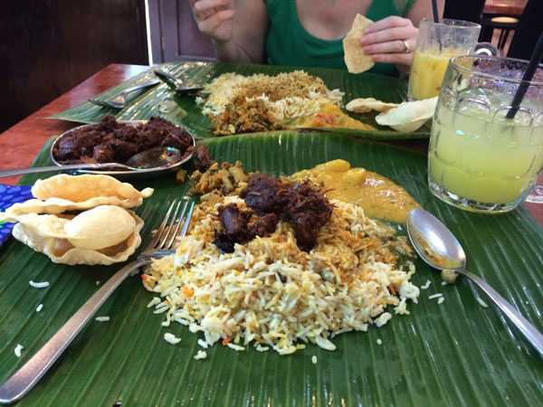 The best curry in Singapore is at Samy's. Served up on a banana leaf, you should have the lamb, chicken and fishhead curries with a side of lime juice