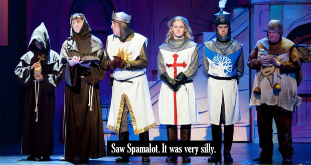 spamalot response Acts theatre is a non-profit community if you have not bought tickets to see spamalot it's wonderful when we get the response that we got for shrek.