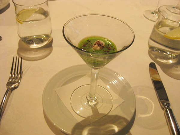 Pea soup with rock salt and chocolate shavings