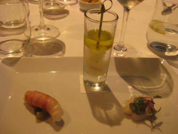 Grilled Scampi Wrapped in Pancetta, Scampi in Sea Water & Lemon Scented Olive Oil, and Marinated Scampi with White Miso and Passionfruit