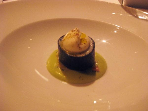 Terrine of spanner crab in avocado soup