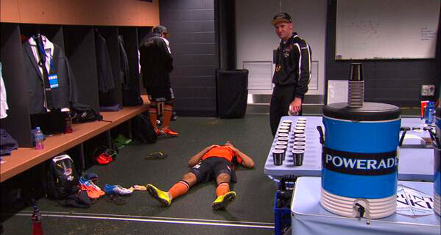 """An exhausted Thomas Broich has a kip after the game or as one Twitter commentator observed """"he's so dedicated to flopping he does it in the locker room"""""""