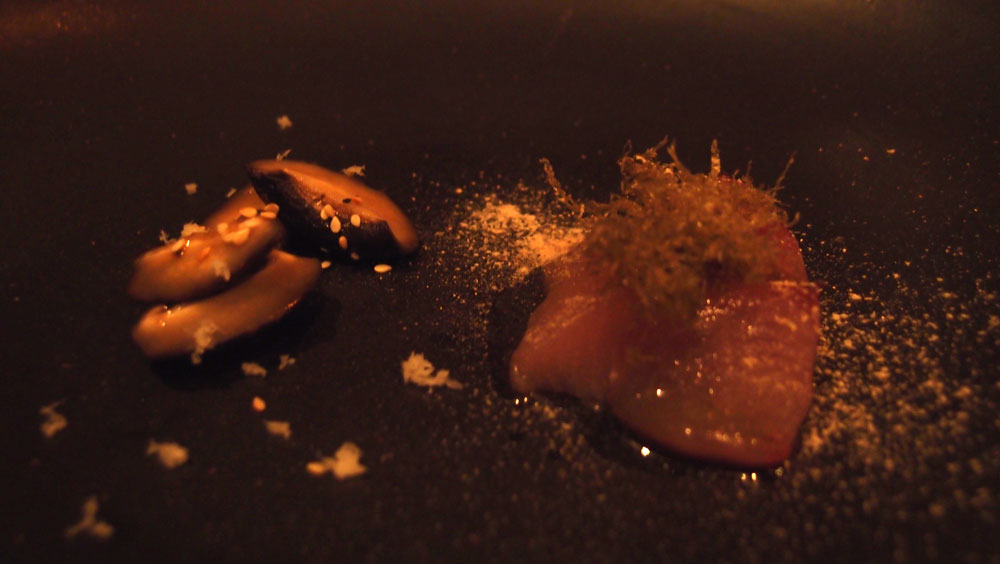 Sashimi bonito, shiitake, perilla and kombu