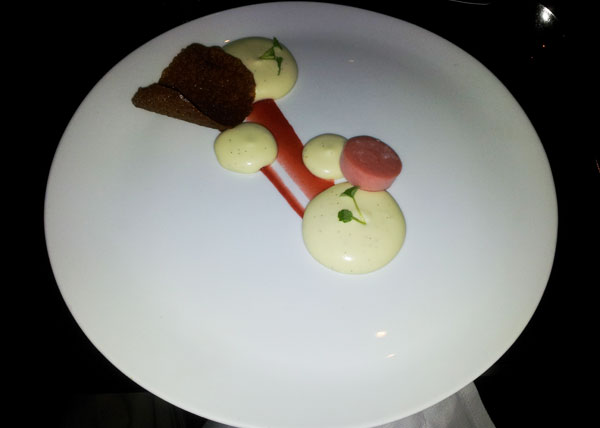 Vanilla mousse, brandy tuille and strawberry sorbet