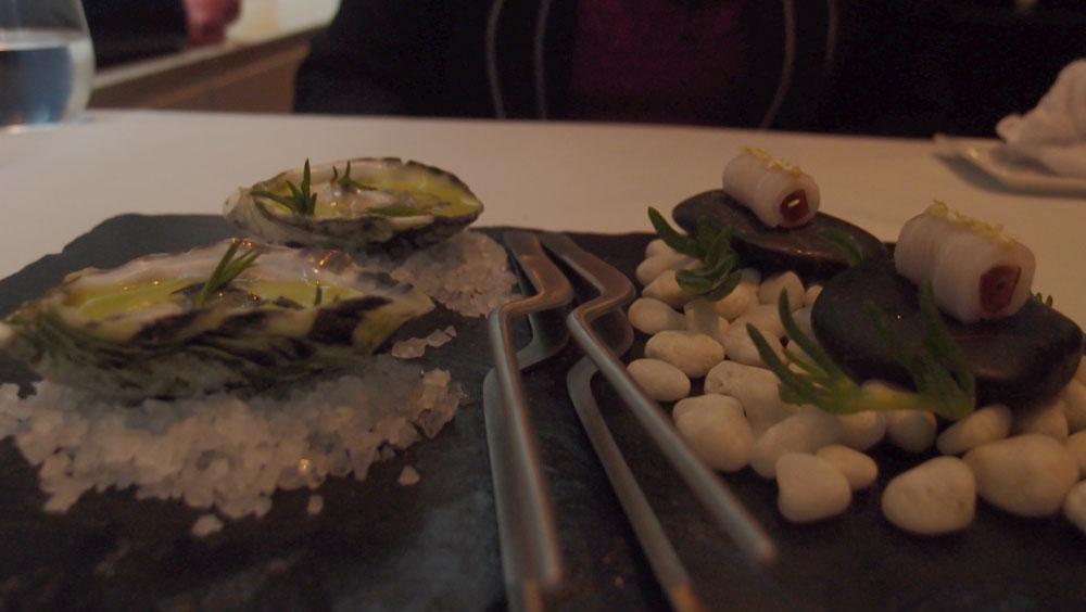 Wasabi oysters and sashimi